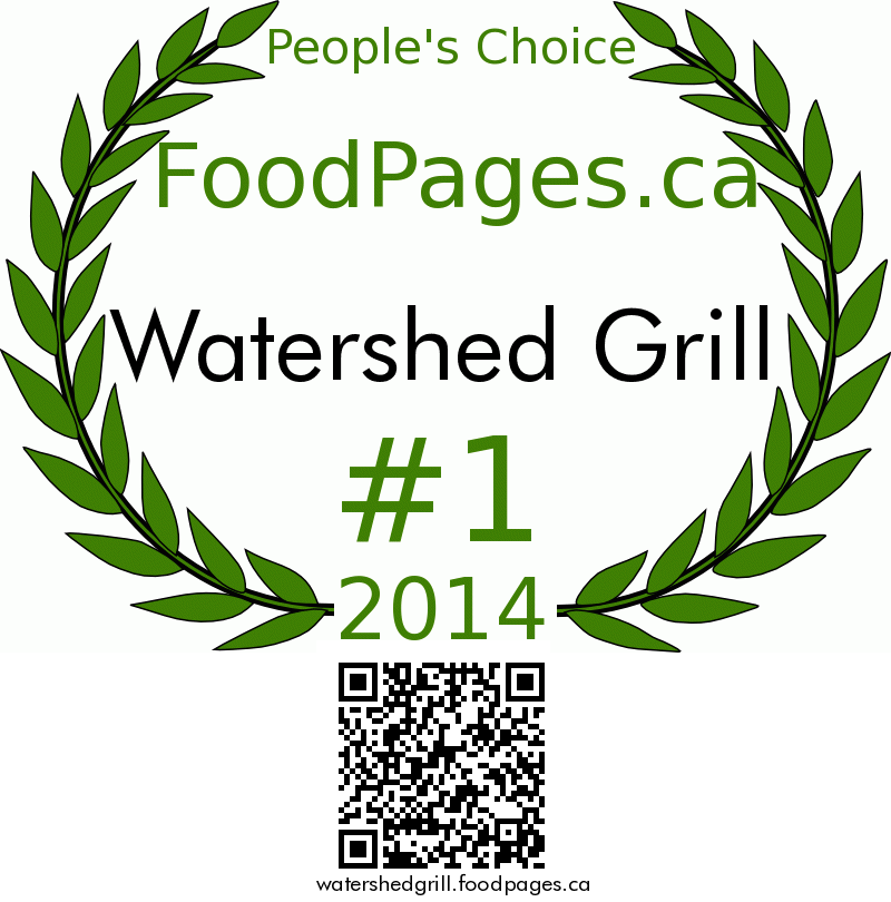Watershed Grill FoodPages.ca 2014 Award Winner