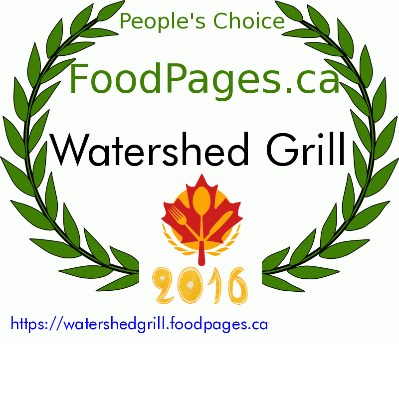 Watershed Grill FoodPages.ca 2016 Award Winner